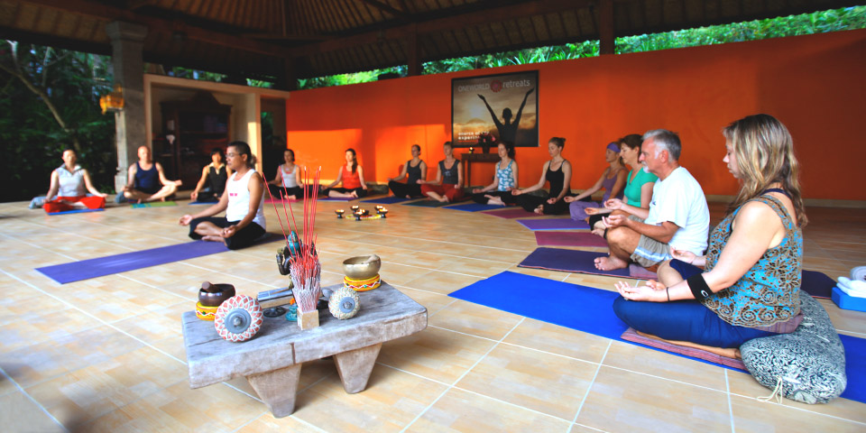 practising yoga in Ubud