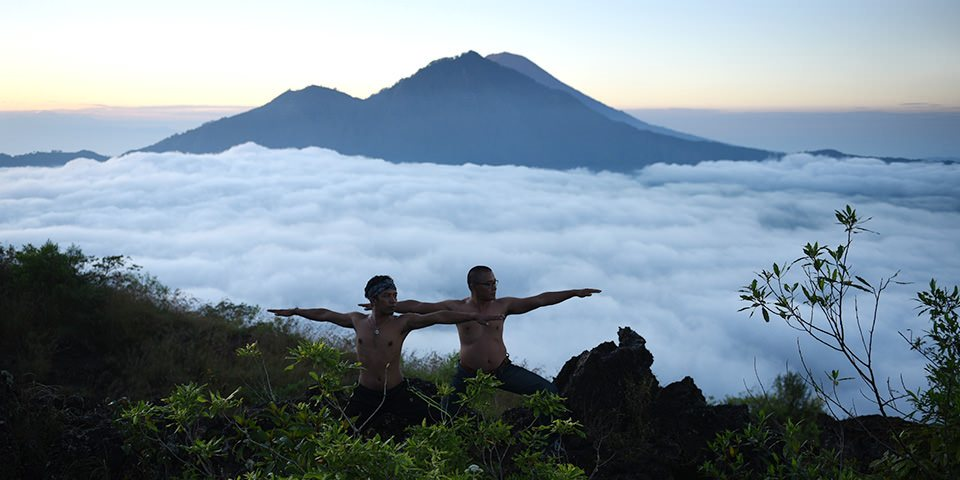 yoga on the top of mount Batur